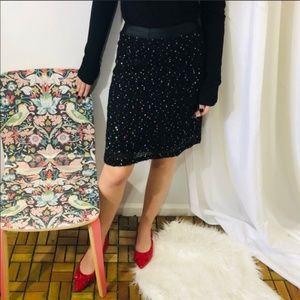 Vintage Betsey Johnson Sequin Skirt Black Boucle S